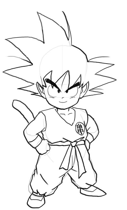 500x827 How To Draw Kid Goku