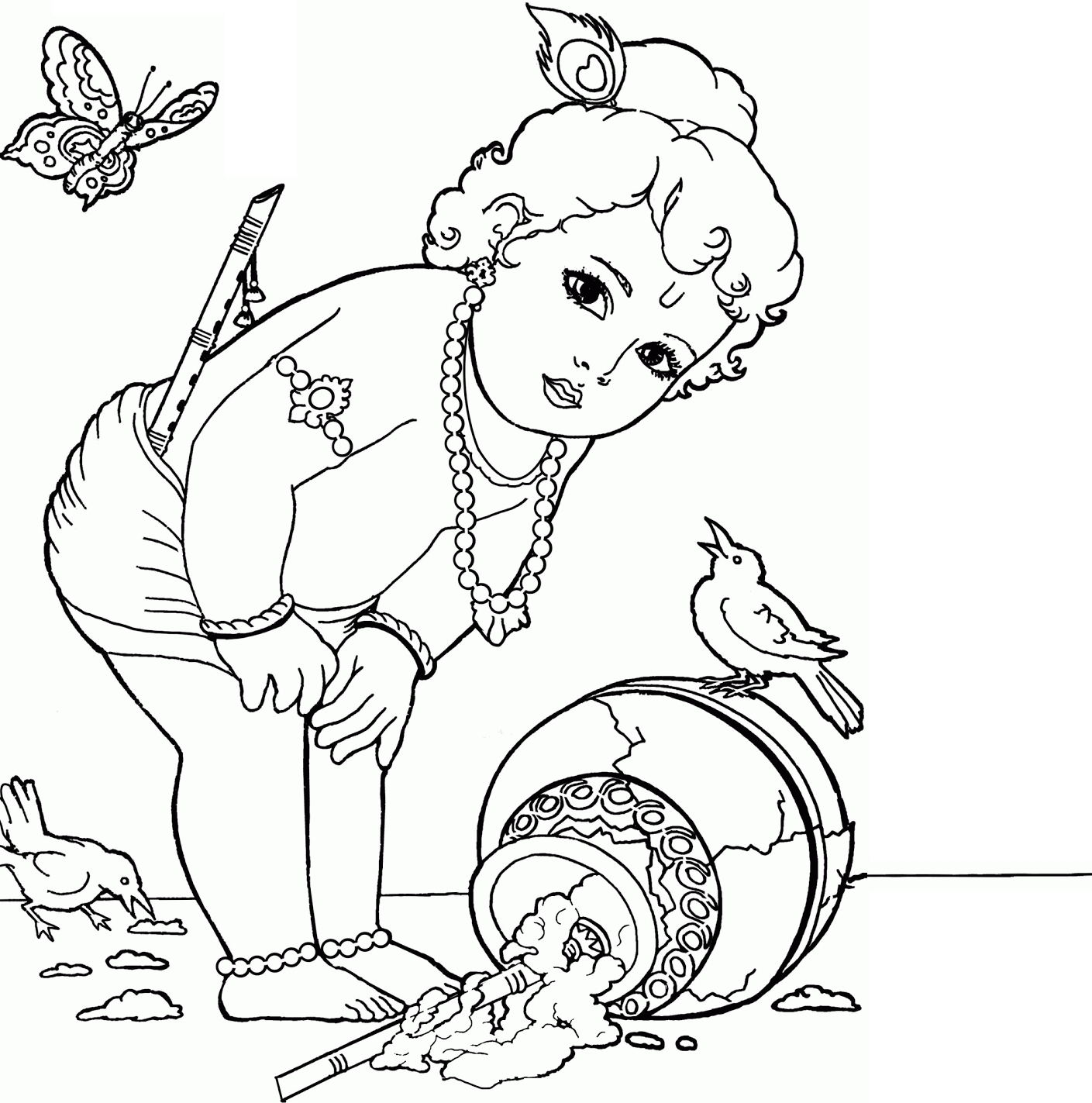 1409x1423 Krishna Little Drawing Colour Drawing Free Wallpaper Little
