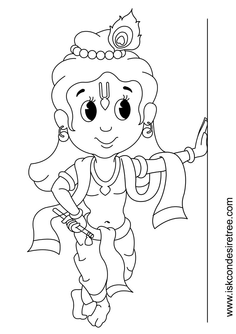 794x1123 Little Krishna Drawing Without Color Coloring Page For Kids