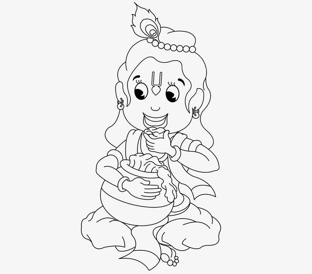 1246x1098 Lord Krishna Drawings Simple For Kids