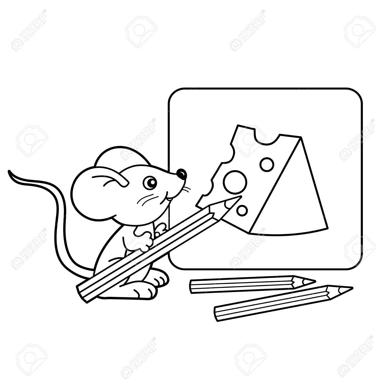 1300x1300 Coloring Page Outline Of Cartoon Little Mouse Pencils