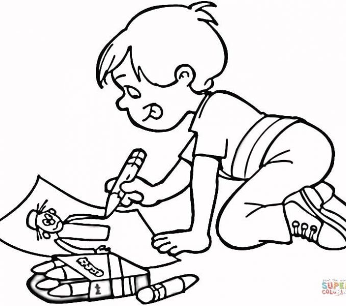 678x600 Kids Drawing Pictures For Coloring Little Boy Drawing