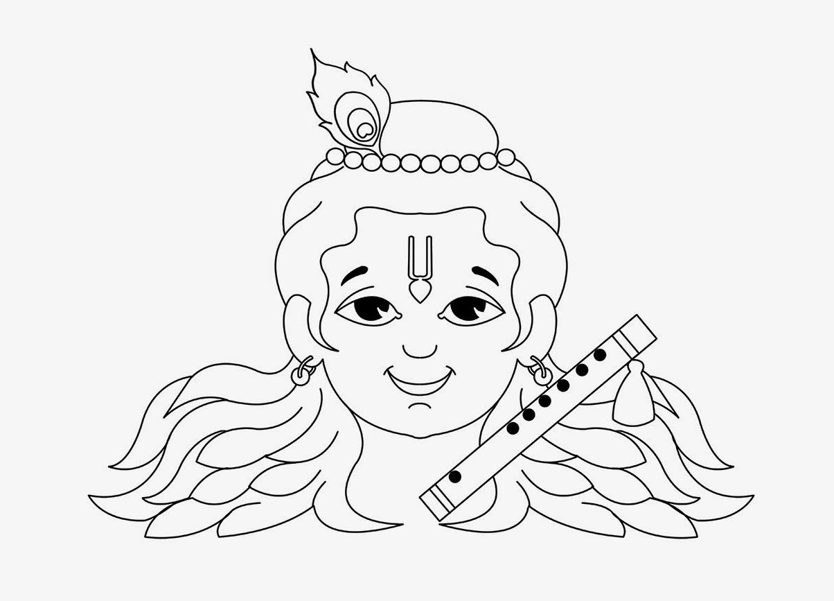 1204x867 Lord Krishna Drawings Simple For Kids