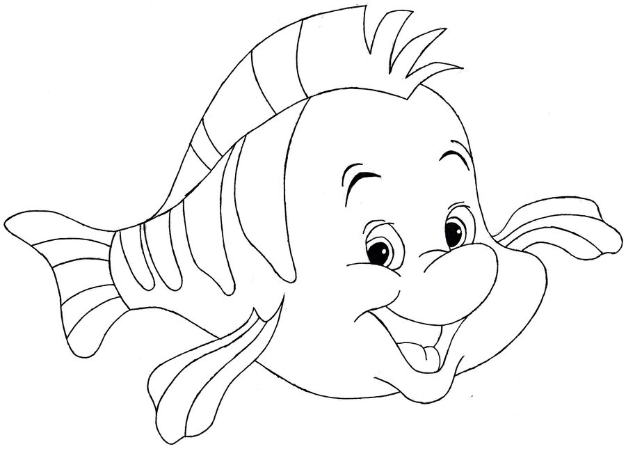 900x645 Flounder (Disney's The Little Mermaid) (Line Art) By Raptoruos