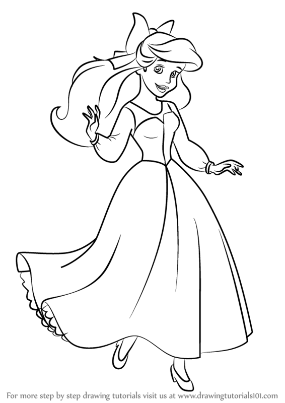 566x800 Learn How To Draw Ariel As Human From The Little Mermaid (The