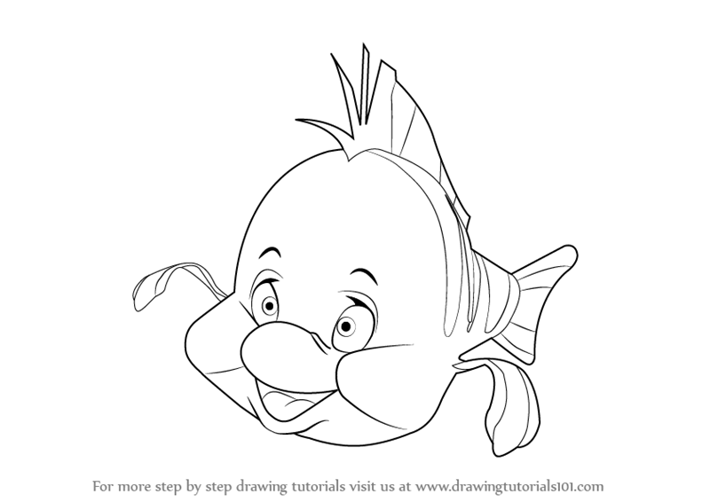800x566 Learn How To Draw Flounder From The Little Mermaid (The Little