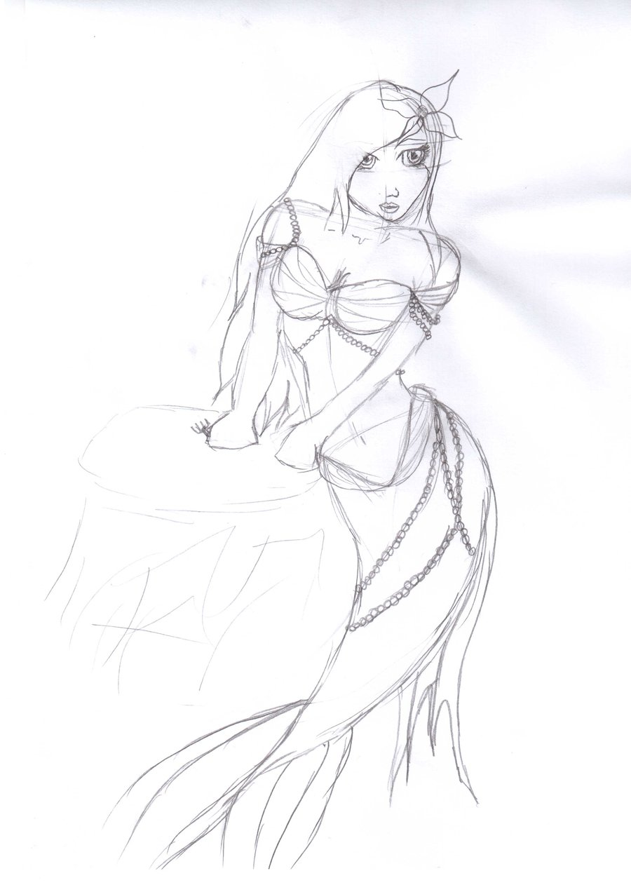 900x1272 Ariel Little Mermaid Sketch By Celtic China Rose