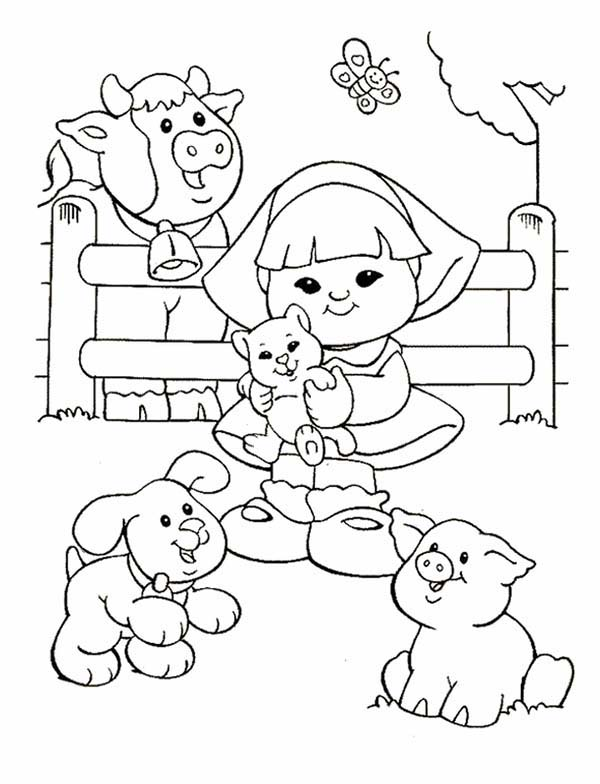 600x784 Little People With Animals Barn Coloring Pages Batch