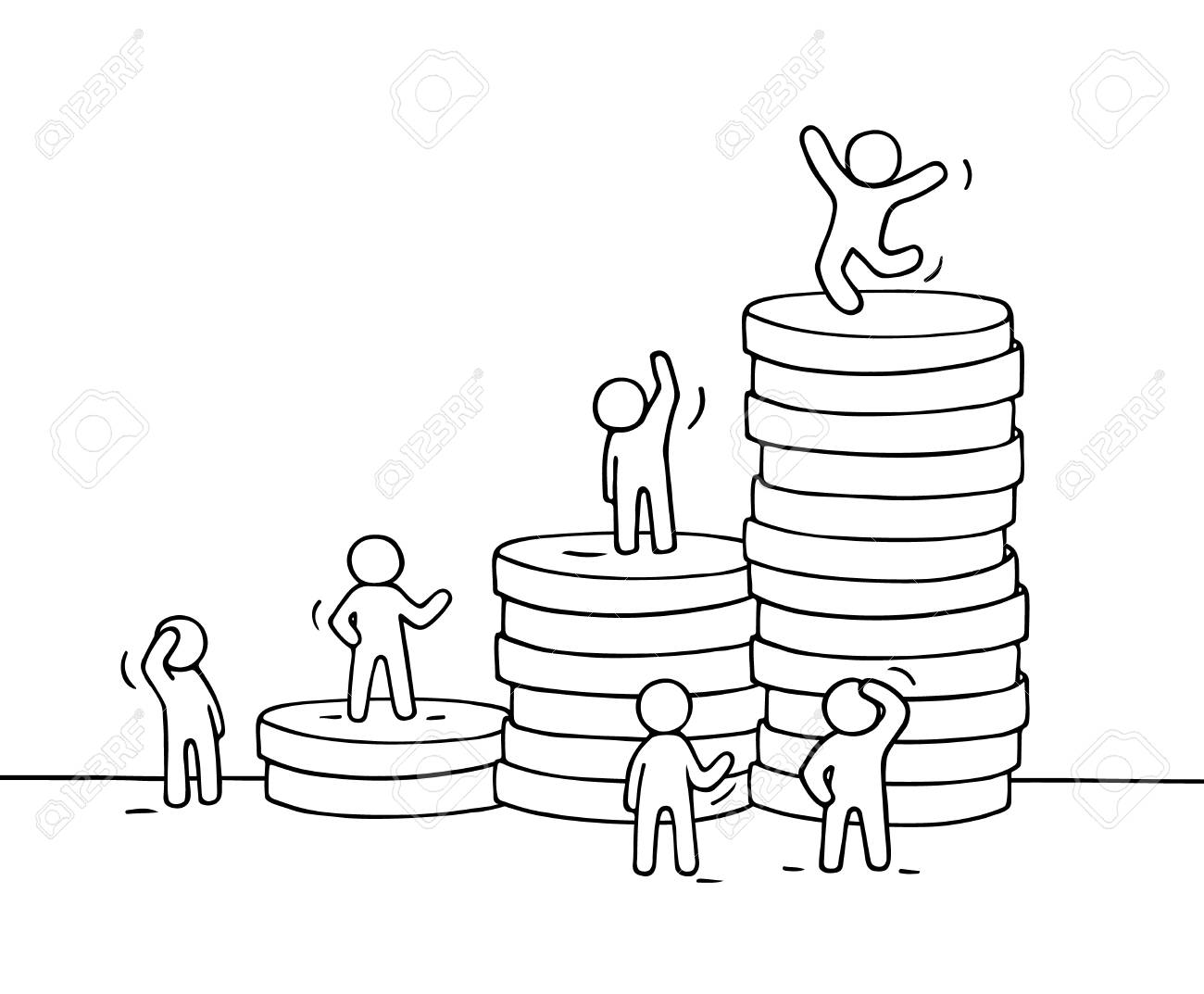 1300x1073 Sketch Of Working Little People With Stack Of Coins. Doodle Cute