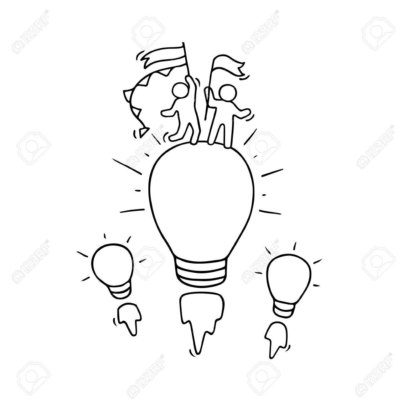 1300x1300 Cartoon Little People With Flying Lamp Idea. Doodle Cute Miniature