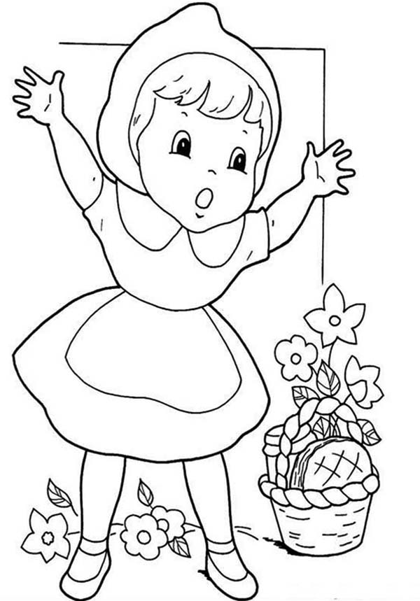 600x859 How To Draw Little Red Riding Hood Coloring Pages Batch Coloring
