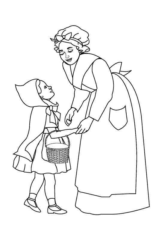 521x771 Little Red Riding Hood And Mom Coloring Pages Afrikaans