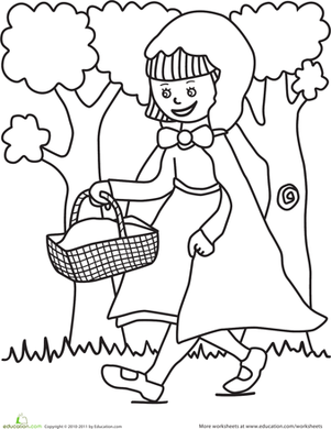 301x390 Color The Little Red Riding Hood Scene Worksheet