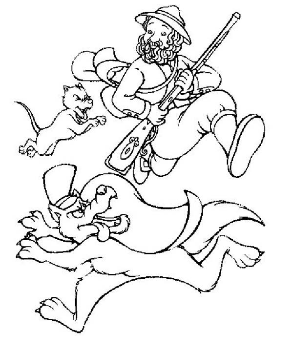 600x723 Farmer Chasing Wolf In Little Red Riding Hood Coloring Pages