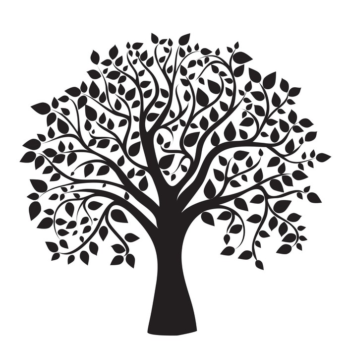 700x700 Black Tree Silhouette Isolated On White Background Wall Mural