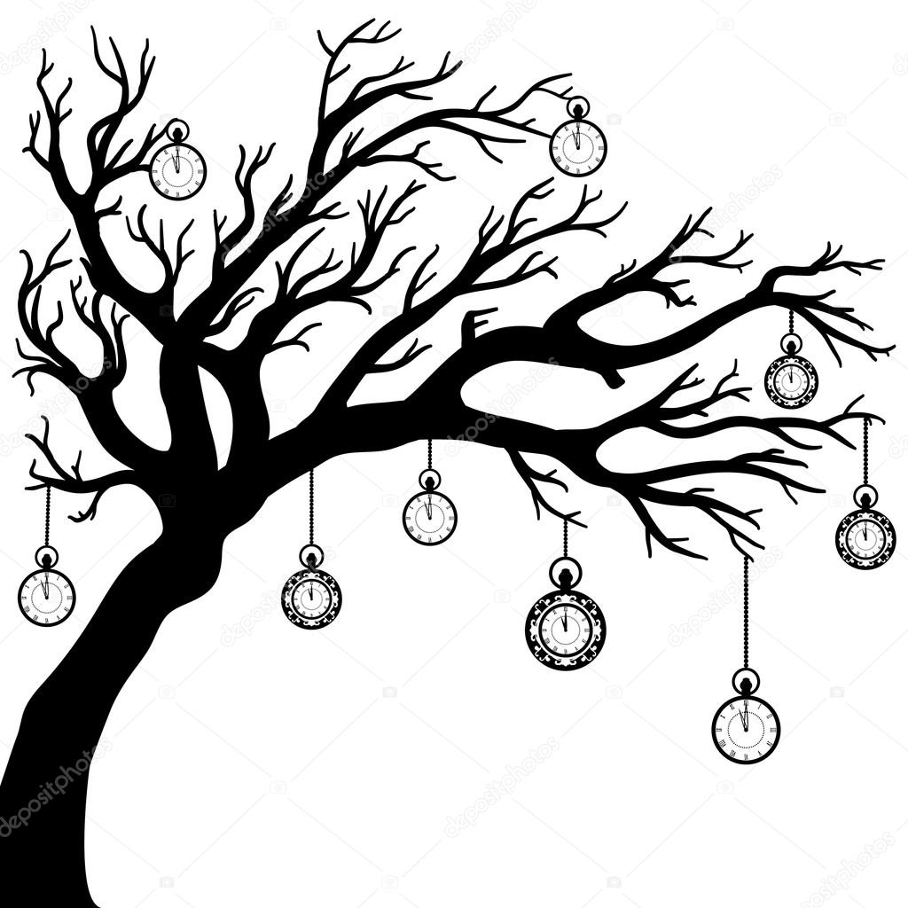 1024x1024 Vector Drawing Of The Tree With Clock Stock Vector Alinabel