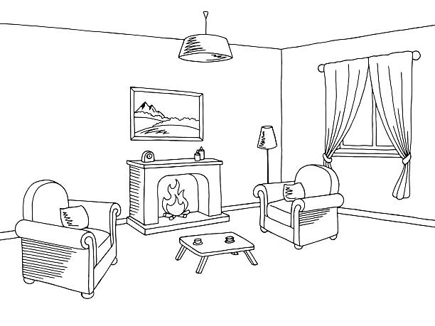 612x459 Drawing Clipart Living Room