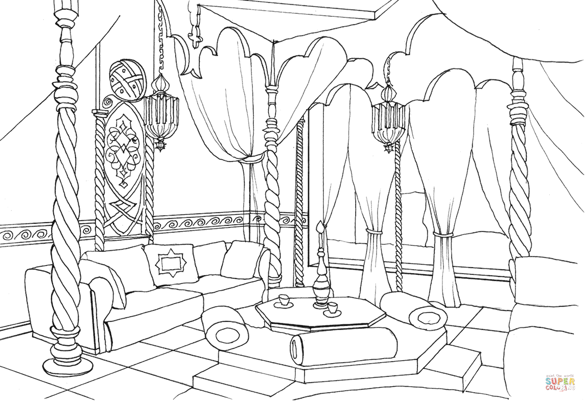 1147x787 East Style Living Room Coloring Page Free Printable Coloring Pages