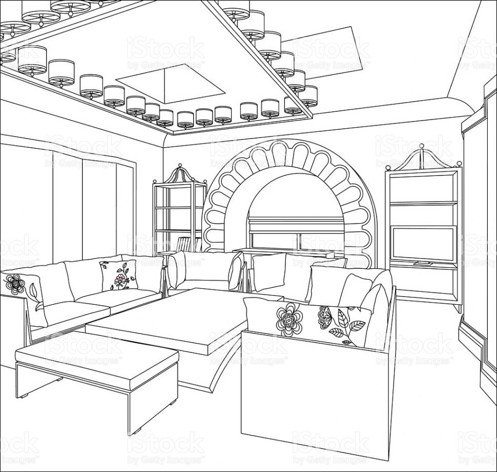 970x920 Living Room Excellent Drawing Of Living Room Picture