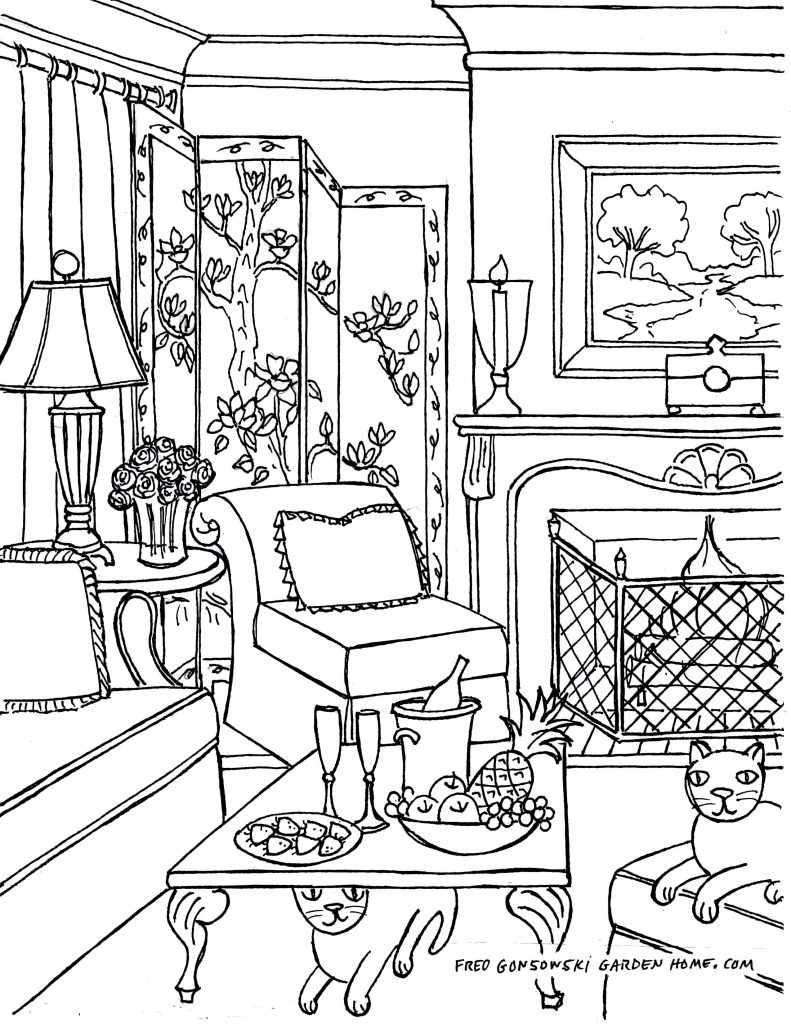 791x1024 Living Room Living Room Lineing Step By Stepdrawing Vs