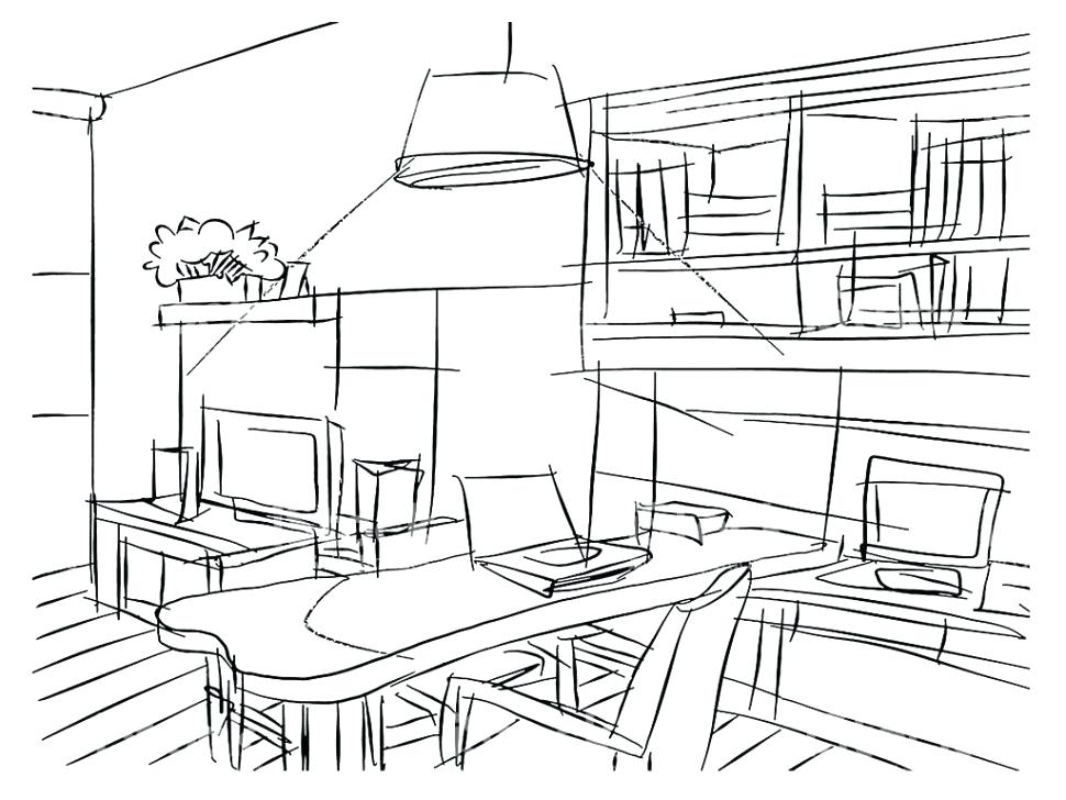 970x728 Living Room Draw The Living Room Living Room Drawing Picture