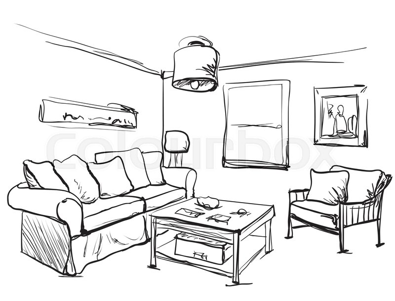 800x609 Living Room Interior Sketch. Table, Sofa And Other Furniture
