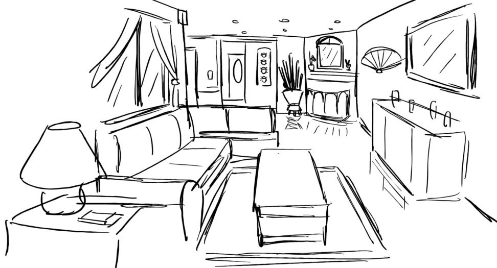 972x525 Modern Living Room Drawing In 2d And 3d. Ideas. Niudeco Interior