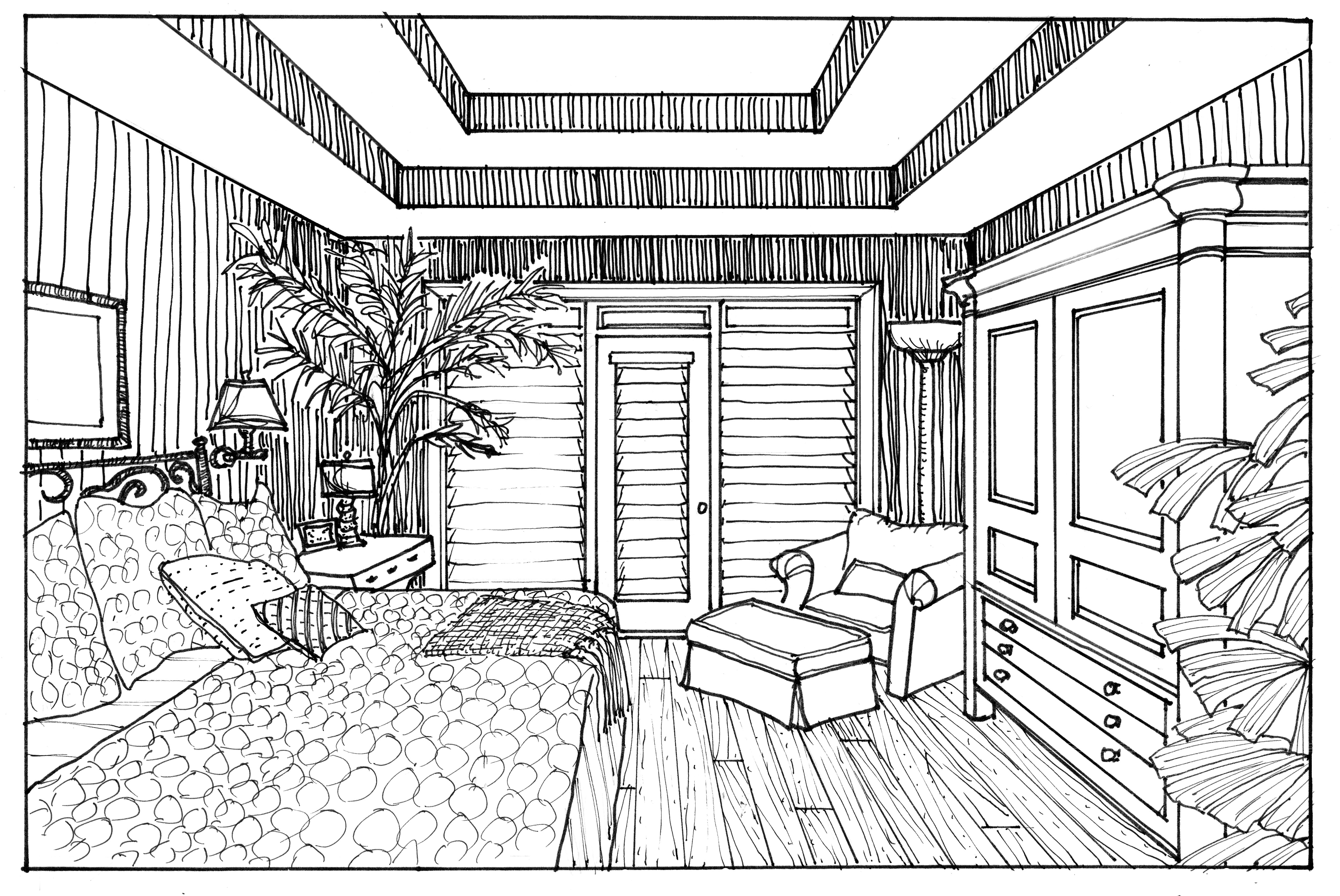 5719x3824 Wonderful Interior Drawing With Wood Floor Featuring Modern Living