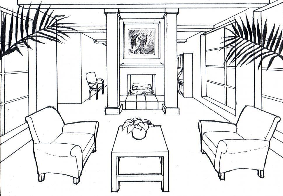 970x674 Living Room Drawing