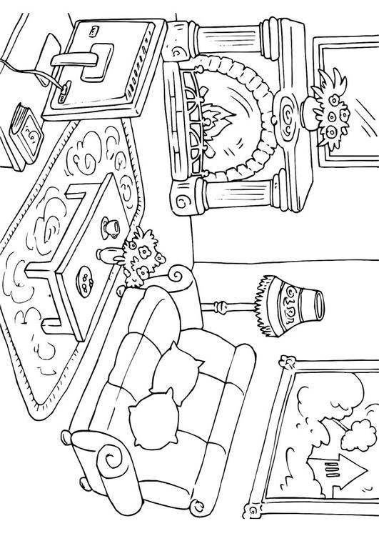 531x750 Coloring Page Living Room
