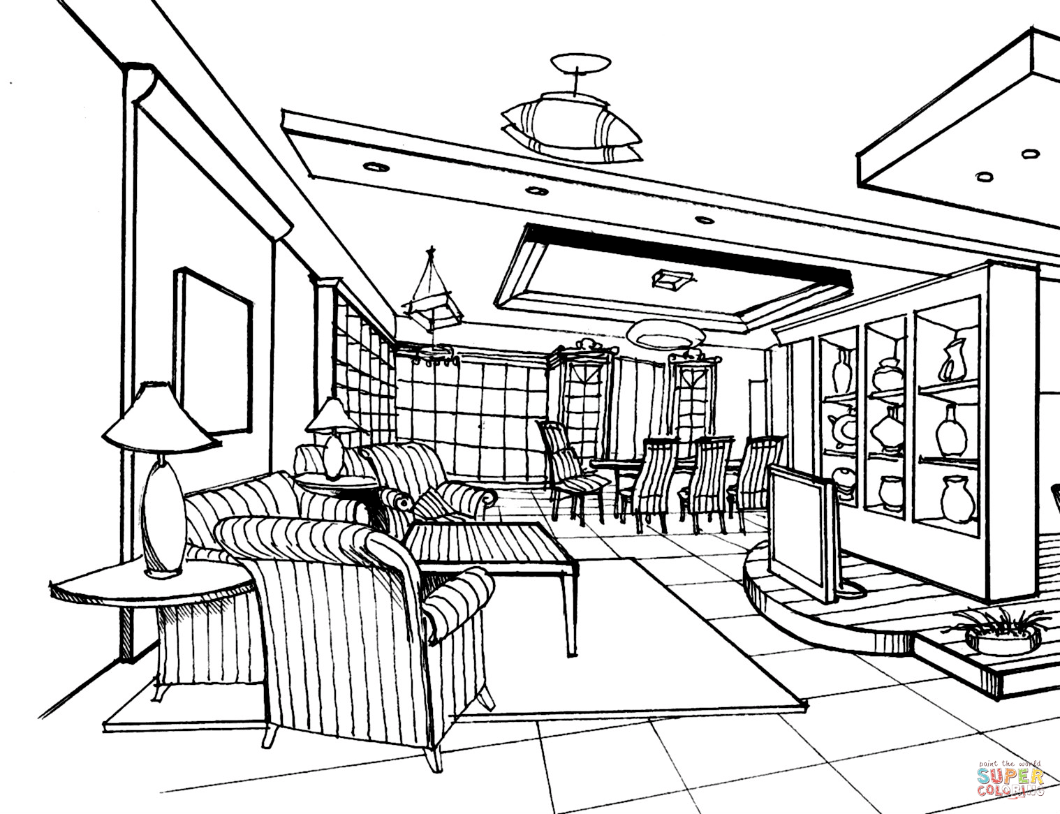 1518x1166 Large Living Room Coloring Page Free Printable Coloring Pages