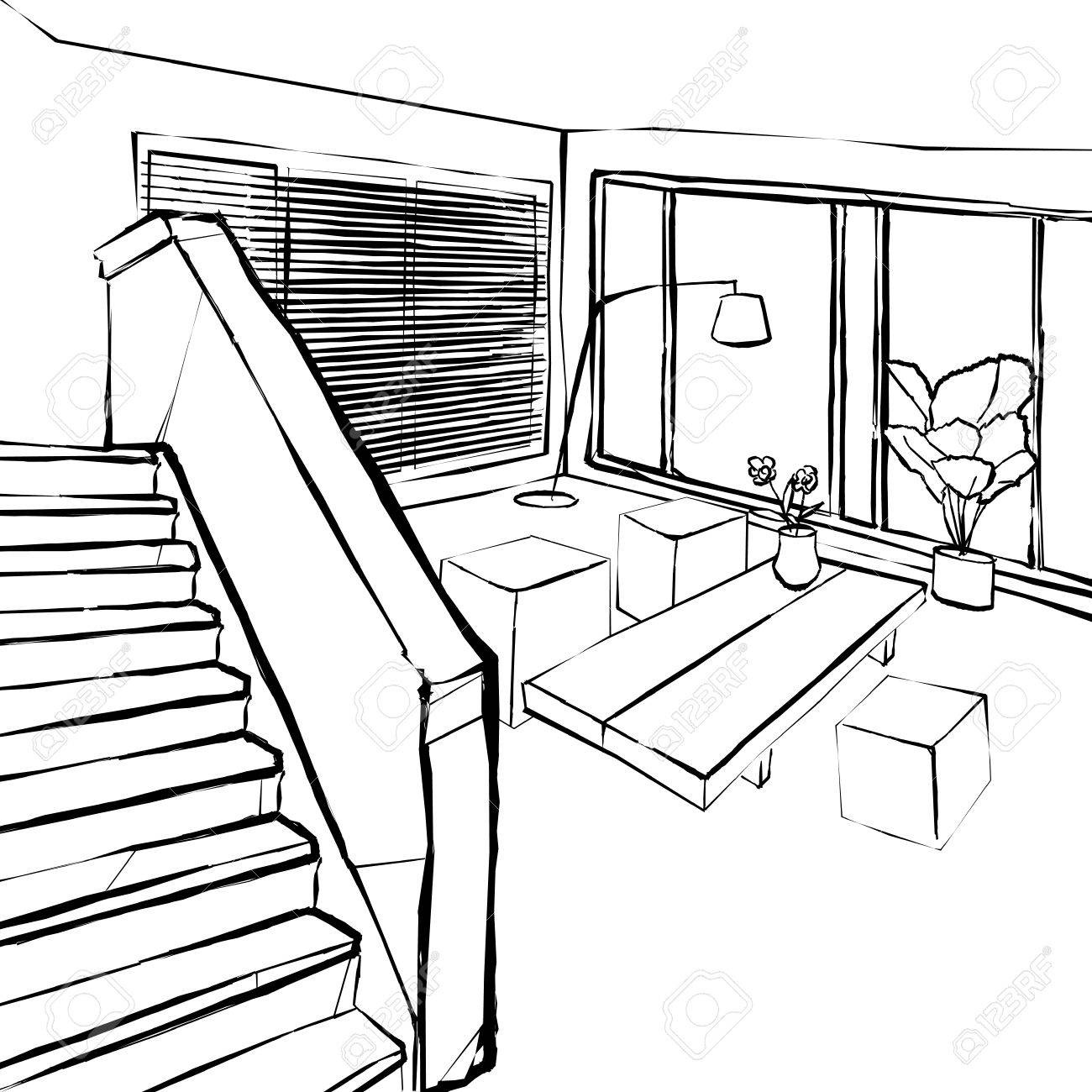 1300x1300 Living Room Sketch, The Stairs In The Living Room Sketch Royalty