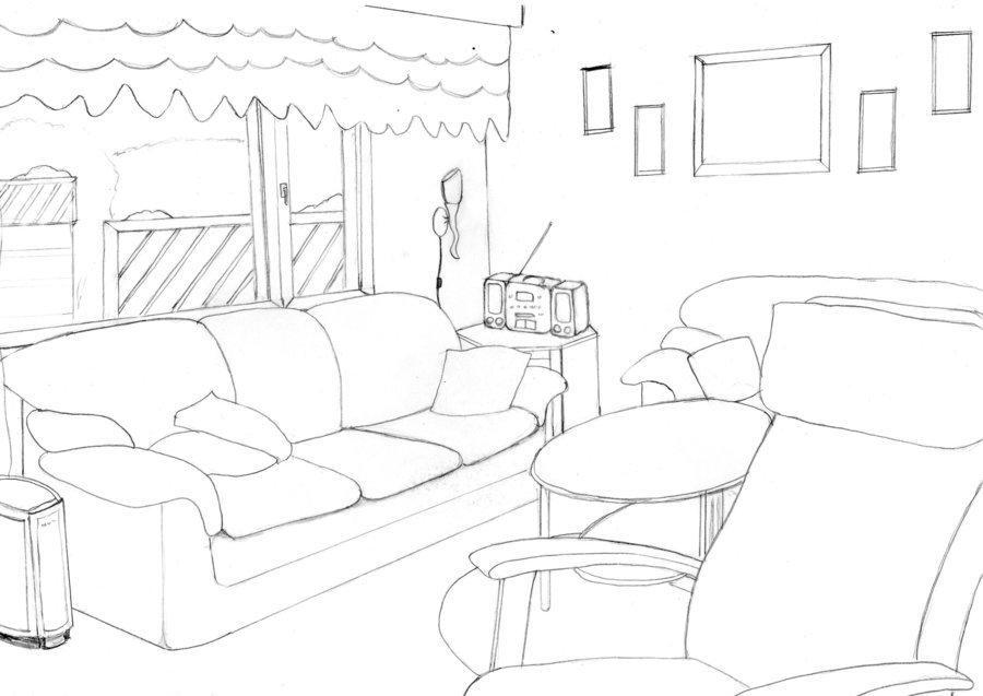 900x637 Simple Living Room Drawings