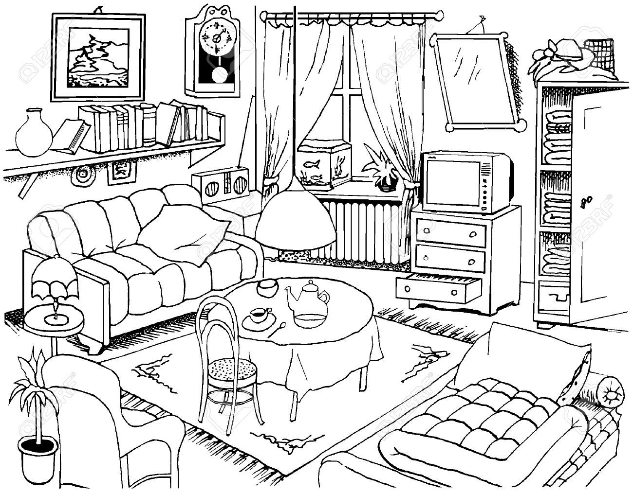 1300x1014 Living Room Drawing