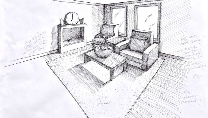 Living Room Line Drawing