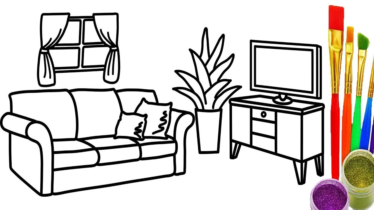 Line Drawing Room : Living room line drawing at getdrawings free for