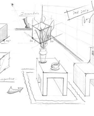 300x372 Hand Sketches Of Interior In Various Perspectives With Simple