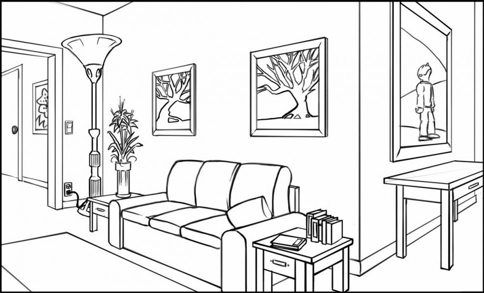 970x587 2 Point Perspective Drawing Living Room