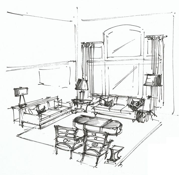710x692 Living Room Perspective Interior Sketches Floor Plans