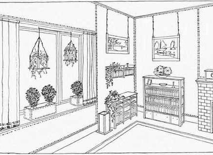 440x320 Living Room Clipart Coloring Page