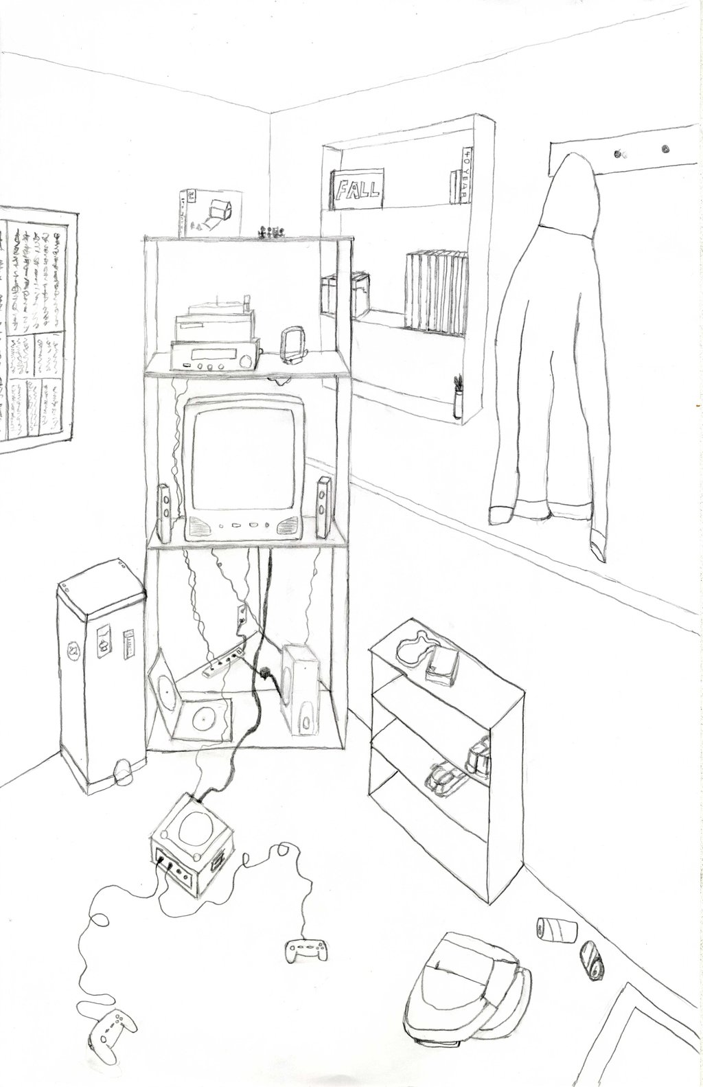 1024x1583 My Room In 2 Point Perspective By Xeneros