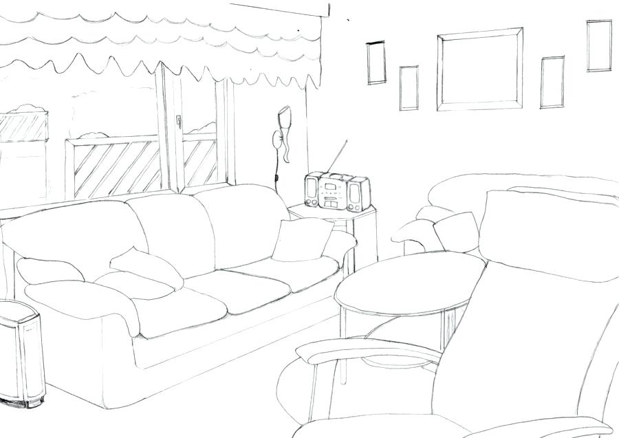 900x637 One Point Perspective Drawing Living Room