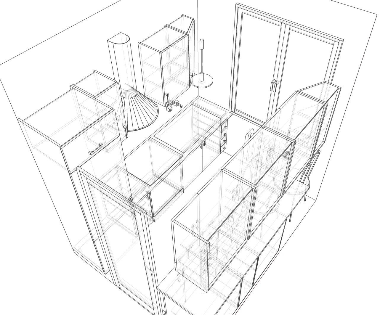 1283x1064 One Point Perspective Drawing Of A Living Room