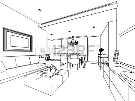 450x338 Outline Sketch Drawing Perspective Of A Interior Space Stock Photo