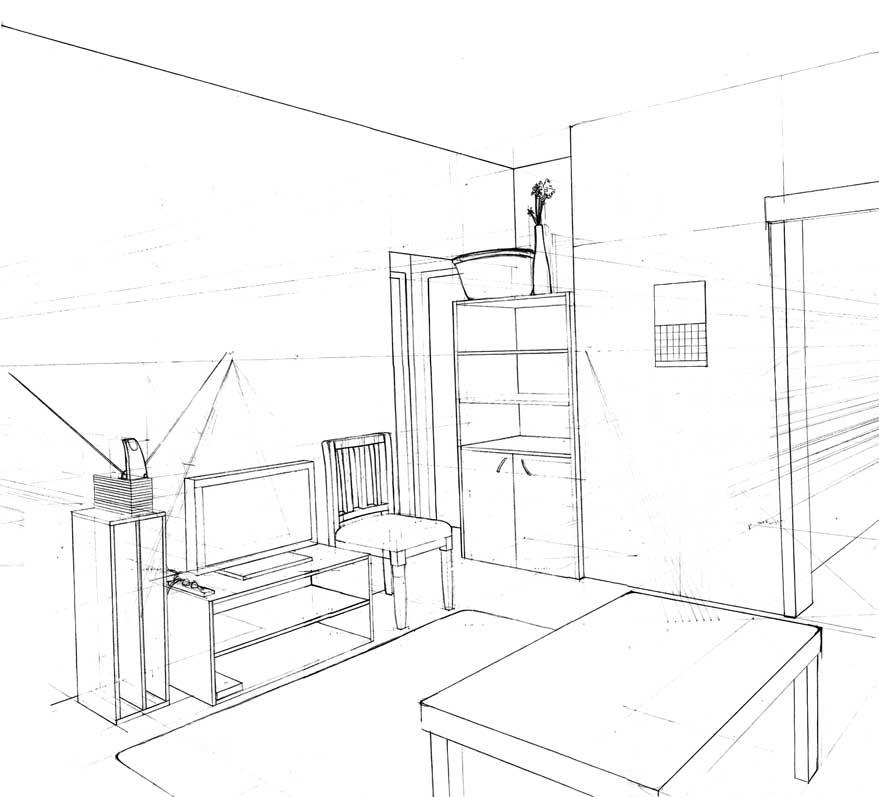 879x797 Villa Living Room Design Drawing