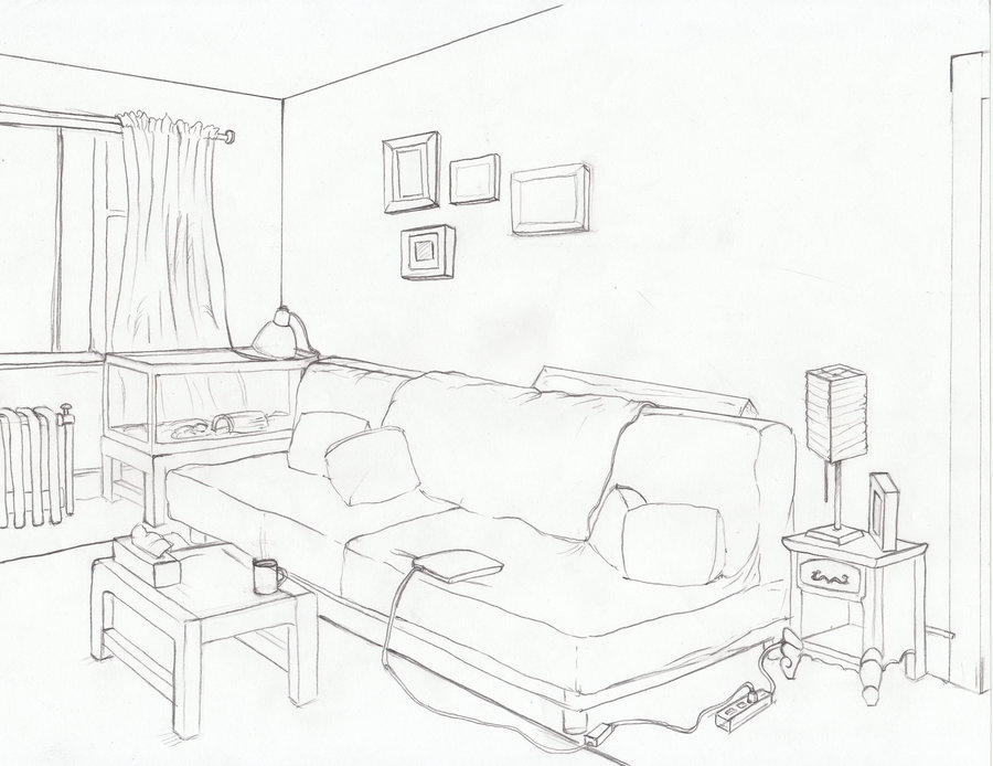 900x694 One Point Perspective Drawing Living Room