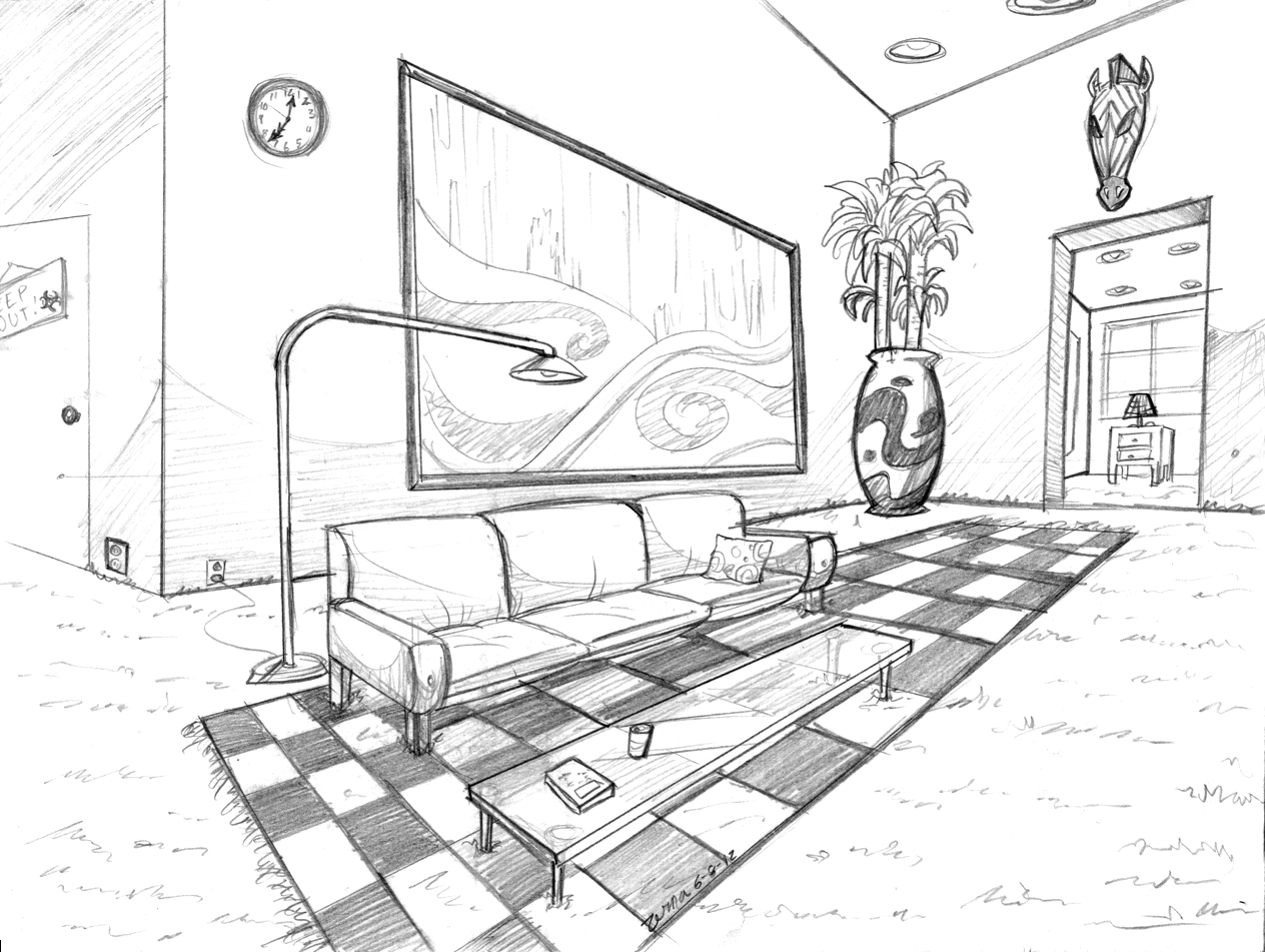 Living room perspective drawing at free - One point perspective drawing living room ...