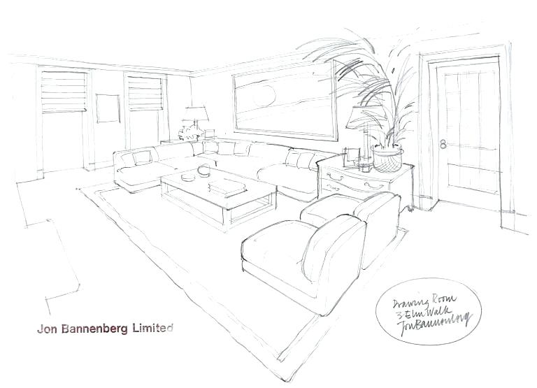 Living Room Perspective Drawing At Free