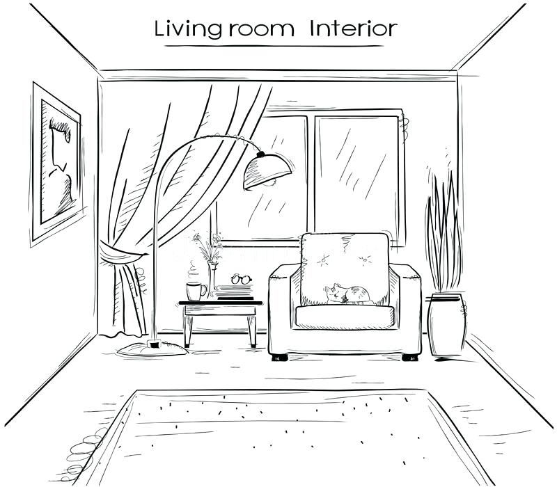 800x700 Drawing Your Living Room Home Design Hands One Point Perspective