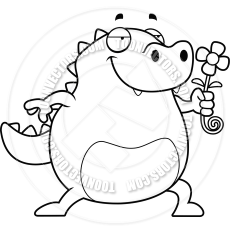 460x460 Cartoon Lizard Flower (Black And White Line Art) By Cory Thoman